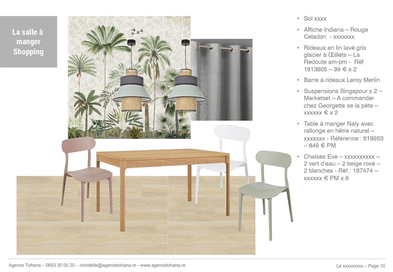 La planche de shopping de la salle à manger -Projet de rénovation d'un appartement à Saint-Denis - Dossier d'architecte d'intérieur et décorateur