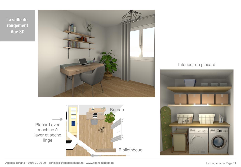 Le bureau -Projet de rénovation d'un appartement à Saint-Denis - Dossier d'architecte d'intérieur et décorateur