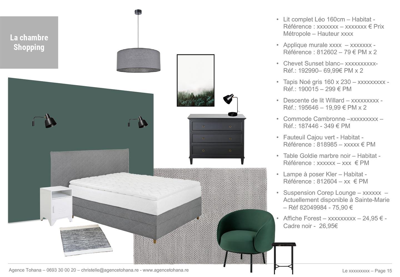 La planche de shopping de la chambre -Projet de rénovation d'un appartement à Saint-Denis - Dossier d'architecte d'intérieur et décorateur