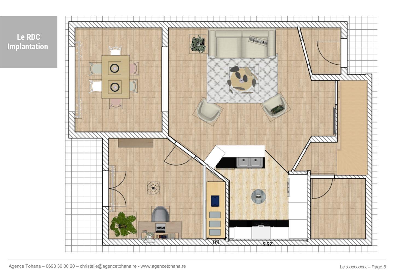 Le plan d'implantation -Projet de rénovation d'un appartement à Saint-Denis - Dossier d'architecte d'intérieur et décorateur