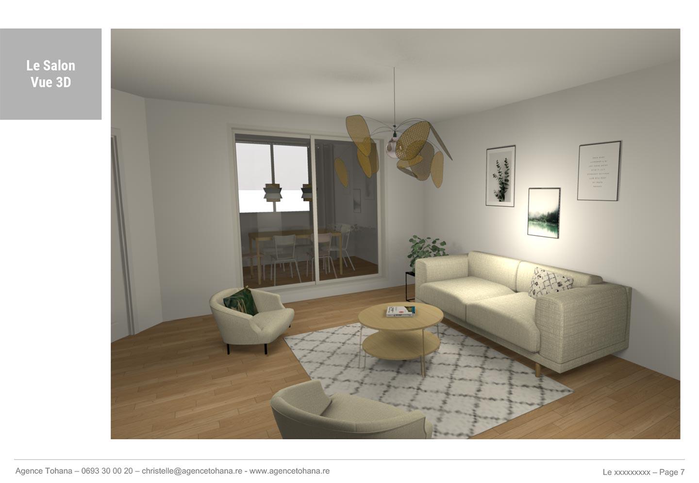 La vue 3D du salon -Projet de rénovation d'un appartement à Saint-Denis - Dossier d'architecte d'intérieur et décorateur