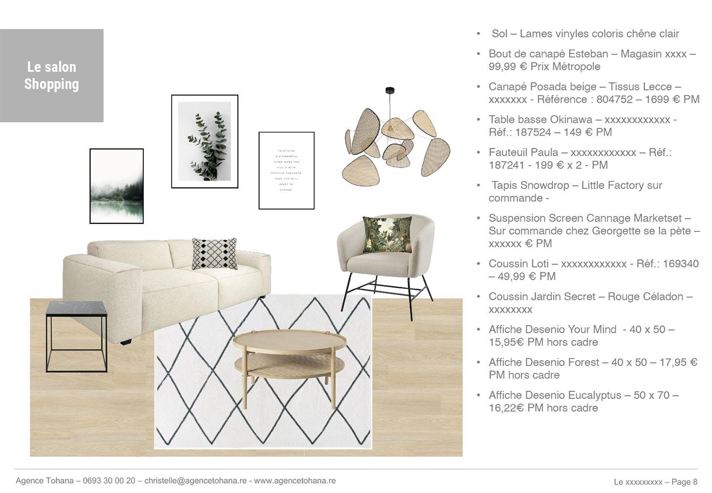La planche de shopping du salon -Projet de rénovation d'un appartement à Saint-Denis - Dossier d'architecte d'intérieur et décorateur