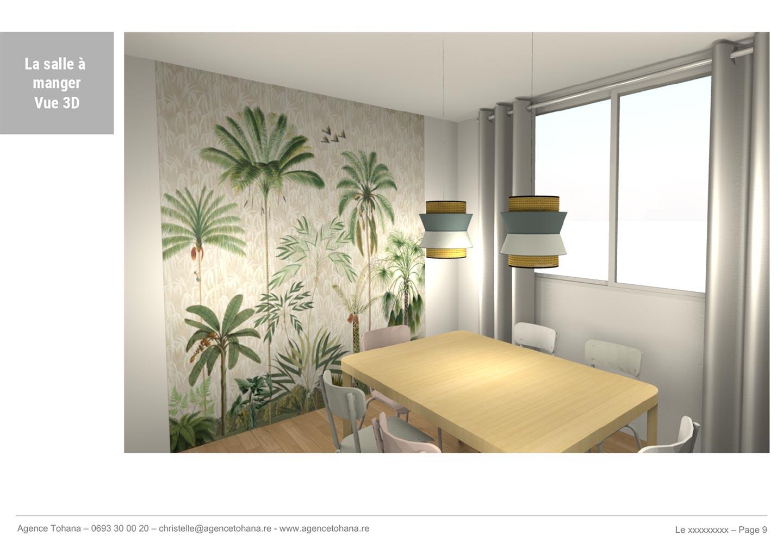 La vue 3D de la salle à manger -Projet de rénovation d'un appartement à Saint-Denis - Dossier d'architecte d'intérieur et décorateur